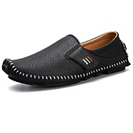 Men's Shoes Real Leather Nappa Leather Spring Fall Comfort Loafers & Slip-Ons For Casual Blue Black White