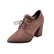 Feminino Sapatos Couro Ecológico Outono Inverno Coturnos Botas Salto Grosso Dedo Apontado Botas Curtas / Ankle Cadarço Para Casual Preto