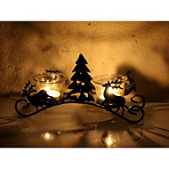 cheap Candles & Candleholders-Candle Holders 23*6.5*10.5 Iron Candelabra Candle Holders Black