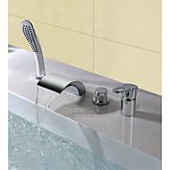 コンテンポラリー モダンスタイル 組み合わせ式 滝状吐水タイプ ハンドシャワーは含まれている 高品質 シングルハンドル4つの穴 for  クロム , 浴槽用水栓