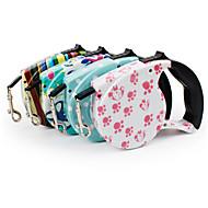 犬 リード 携帯用 幾何学模様 ナイロン ホワイト ブルー ピンク 虹色