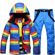 Homens Calças & Jaquetas de Esqui Quente, Prova-de-Água, A Prova de Vento Esqui Ecológico Poliéster Calças de babador de neve / Jaqueta