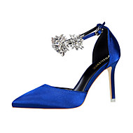 cheap Women's Heels-Women's Shoes Silk Spring Summer Comfort Novelty Heels Pointed Toe Crystal Buckle for Wedding Party & Evening Silver Red Green Blue Pink
