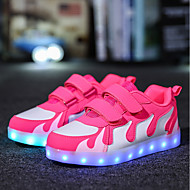 Girls' Shoes Leatherette Fall Winter Light Up Shoes Sneakers Magic Tape LED For Casual Black/Red Black/White Pink/White Fuchsia