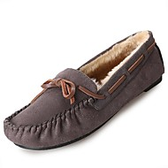 Women's Shoes PU Winter Comfort Fur Lining Boat Shoes Flat Round Toe for Casual Black Gray Brown Blue