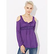 Feminino Camiseta Para Noite Casual Tamanhos Grandes Sensual Simples Moda de Rua Primavera Outono,Sólido Poliéster Decote RedondoManga