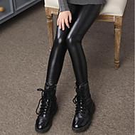 Dívčí Umělá kůže Jednobarevné Zima Kalhoty Na běžné nošení Černá
