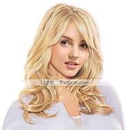 halpa -Naisten Ihmisen hiukset Capless Peruukit Musta hunaja Blonde Medium Auburn Beige Blonde // Bleach Blonde Pitkä Laineita Sivuosa