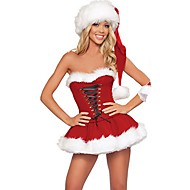 baratos -Ternos de Papai Noel Mrs.Claus Ocasiões Especiais Mulheres Natal Festival / Celebração Roupa Vermelho Sólido Férias Natal