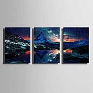 cheap Prints-E-HOME® Stretched LED Canvas Print Art The Snow Capped Mountains LED Flashing Optical Fiber Print Set of 3