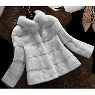 Feminino Casaco de Pêlo Casual Trabalho Simples Inverno,Sólido Padrão Pele Artificial Colarinho Chinês Manga Longa
