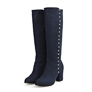 cheap -Women's Suede Fall / Winter Comfort / Novelty Boots Pointed Toe Knee High Boots Rivet Black / Blue / Burgundy
