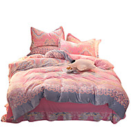 Duvet Cover Sets Florals 4 Piece Flannel Reactive Print Flannel 1pc Duvet Cover 2pcs Shams 1pc Flat Sheet