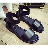 저렴한 -여성 구두 PU 여름 컴포트 샌들 발가락 슈즈 캐쥬얼 용 화이트 블랙 실버 레드 표범