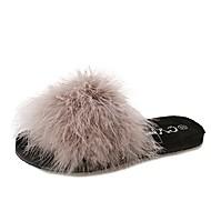 Dames Schoenen PU Winter Comfortabel Slippers & Flip-Flops Open teen Veer Voor Causaal Zwart Geel Groen Khaki