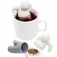 1pc cute mr.tea bag teabag silicone folha de chá filtro infusor saco teapot filtro drinkware forma homem pequeno