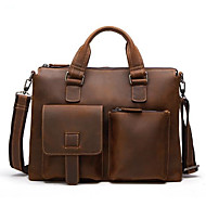 Men Bags Cowhide Briefcase Zipper for Office & Career All Season Black Coffee Brown