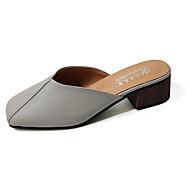 baratos Sapatos Femininos-Mulheres Loafers Backless Couro Ecológico Verão Conforto Sandálias Sem Salto Dedo Fechado Combinação Branco / Preto / Cinzento