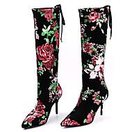 baratos Sapatos Femininos-Mulheres Sapatos Cetim com Stretch Primavera / Outono Conforto / Inovador / Botas da Moda Botas Dedo Apontado Botas Cano Médio Apliques