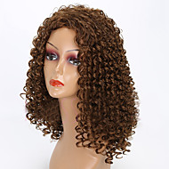 Syntetiske parykker Krøllet Syntetisk hår Afro-amerikansk paryk Brun Paryk Dame Medium Lågløs