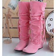Žene Cipele Nubuk koža Jesen / Zima Modne čizme / Udobne cipele Čizme za Bež / Pink / Tamno smeđa