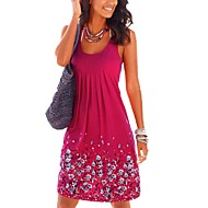 cheap -Women's Daily / Holiday Street chic Loose Dress - Floral Print Purple Fuchsia Light Blue M L XL