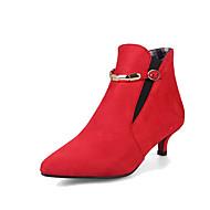 Women's Boots Comfort Fall Winter Leatherette Walking Shoes Casual Dress Buckle Kitten Heel Black Gray Ruby Green 1in-1 3/4in