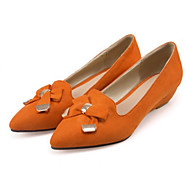 cheap Women's Flats-Women's Shoes Suede Spring Fall Comfort Novelty Flats Pointed Toe Bowknot Rivet for Dress Party & Evening Black Orange Light Yellow Brown