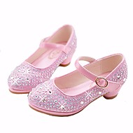 olcso Gyermekcipők-ador® lányok cipő mikroszálas tavaszi / őszi virág lány cipő / apró sarkú tizenéves sarok arany / ezüst / rózsaszín