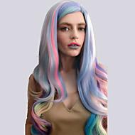 Syntetiske parykker Naturligt, bølget hår Pink Syntetisk hår Highlighted / balayage-hår / Side del Pink Paryk Dame Lang / Meget lang Lågløs Regnbue