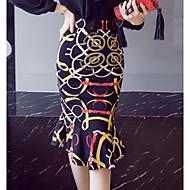 cheap Women's Skirts-Women's Chic & Modern Bodycon Skirt & Dress Skirts - Print, Ruffle High Waist