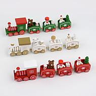 4個/セットクリスマスプレゼント木製の列車の家の装飾子供の贈り物20 * 4.5 * 3センチメートル