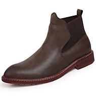 メンズ 靴 レザー 冬 ファッションブーツ ブーツ のために カジュアル ブラック Brown