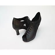 Women's Salsa Leatherette Net Heel Indoor Splicing High Heel Black Customizable