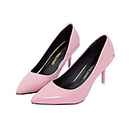 Women's Shoes Real Leather PU Spring Fall Basic Pump Heels Stiletto Heel For Casual Blushing Pink Red Black White
