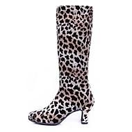 baratos Sapatilhas de Dança-Mulheres Botas de Dança Veludo Botas Salto Robusto Sapatos de Dança Preto / Leopardo / Interior