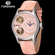 cheap Mechanical Watches-FORSINING Women's Automatic self-winding Wrist Watch Hollow Engraving Compass Leather Band Vintage Casual Dress Watch Fashion White Blue