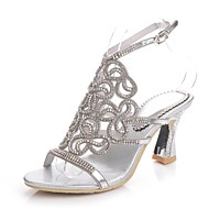 cheap Extended-Size Shoes-Women's Shoes Polyurethane Spring Summer Fashion Boots Sandals Open Toe Rhinestone Crystal Sparkling Glitter Buckle Chain for Dress Party