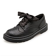 cheap Women's Oxfords-Women's Shoes PU Winter Comfort Oxfords Round Toe For Casual Black
