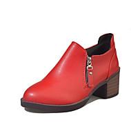 Kadın Ayakkabı PU Sonbahar Rahat Oxford Modeli Düşük Topuk Yuvarlak Uçlu Fermuar Uyumluluk Günlük Siyah Kırmzı