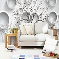 baratos Papel de Parede-Geométrica Árvores/Folhas 3D Papel de Parede Para Casa Moderna Clássico Rústico Revestimento de paredes , Tela Material adesivo necessário