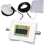 mini intelligent lcd display 4g980 2600mhz mobiltelefon signal booster repeater med utendørs panel antenne / innendørs tak antenne hvit