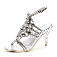 cheap Women's Sandals-Women's Shoes Polyurethane Spring Summer Fashion Boots Sandals Open Toe Rhinestone Crystal Sparkling Glitter Buckle For Party & Evening