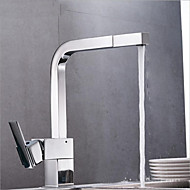 Modern/Comtemporary Vessel Widespread Pull out with  Ceramic Valve Chrome , Kitchen faucet