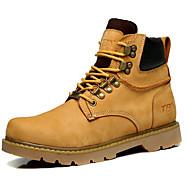 Masculino sapatos Pele Primavera Outono Conforto Coturnos Botas Para Casual Amarelo Marron