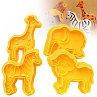 billige Bakeredskap-4pcs cookie plunger cutters kjeks fondant kake mold 3d animal elefant sugarcraft decor craft