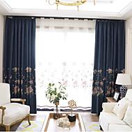 Kousering Top Dobbelt Pliseret Pencil Plisseret Vindue Behandling Moderne , Blomstret Soveværelse Polyesterblanding Materiale