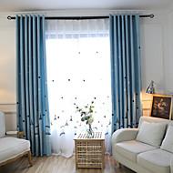 Propp Topp Dobbelt Plissert Blyant Plissert Window Treatment Land Moderne , Geometrisk Stue Lin Materiale Blackout Gardiner Hjem Dekor
