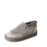 Damen Schuhe Gummi Herbst Komfort Outdoor Niedriger Heel Runde Zehe Schnürsenkel Für Schwarz Grau