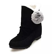 preiswerte Besondere Angebote-Damen Schuhe PU Nubukleder Winter Herbst Flaum Futter Schneestiefel Stiefel Mittelhohe Stiefel für Normal Schwarz Grau Rot
